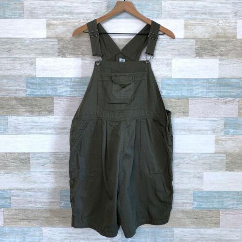 Duo Maternity Denim Overall Shorts Green Bib Shortalls Cotton Womens Size Medium