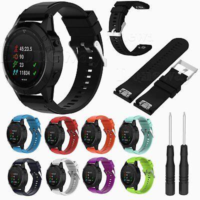26MM Silicone Quick Install Watch Band Strap For Garmin Fenix 5X GPS Watch +Tool ()