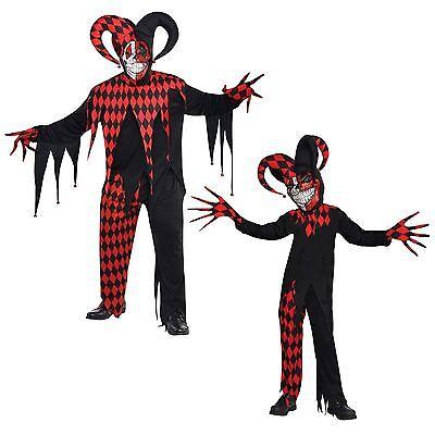 Krazed Jester Evil Clown Fancy Dress Halloween Costume Mens Adults and Teens New