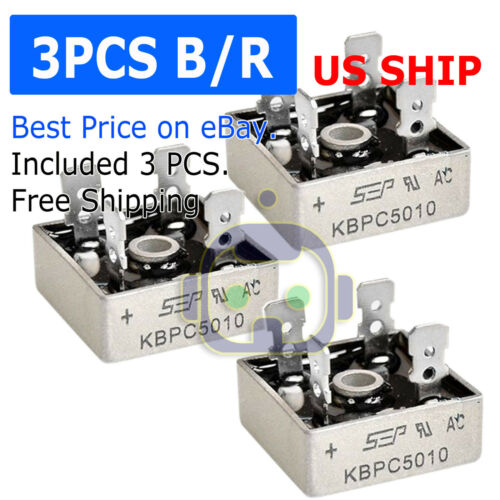 3Pcs 1000V 50A Metal Case Single Phase Diode Bridge Rectifier KBPC5010 USA