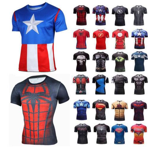 Herren 3D Marvel Superheld Kostüm Kompression Kurzarm T-shirt Sport Fitness Hemd