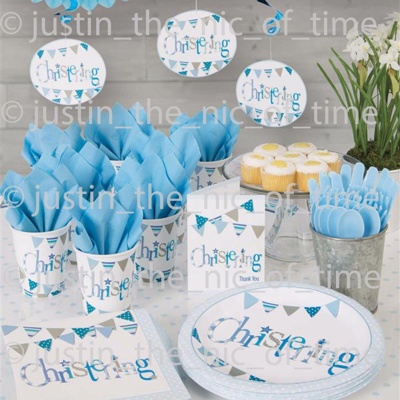 Blue Christening Boys Party Paper Tableware Religious