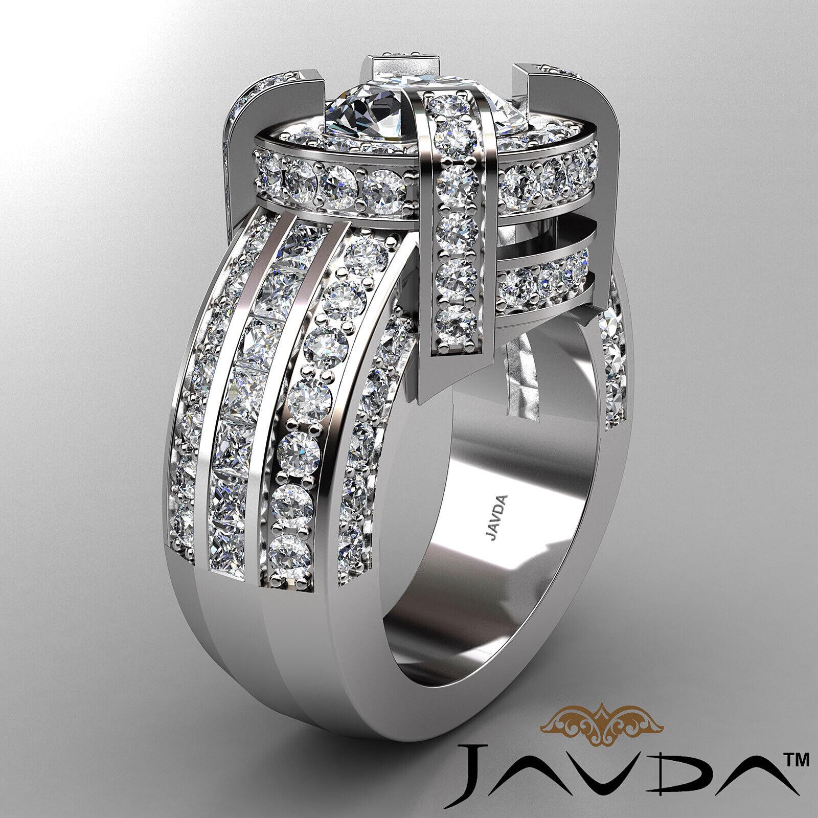 3.9ct Round Diamond Engagement Halo Pave Channel Set Ring GIA F VS2 Platinum 2