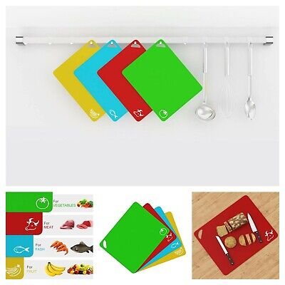 Set of 4 Plastic Cutting Board Mats Colored with Food Icons Extra Thick Flexible
