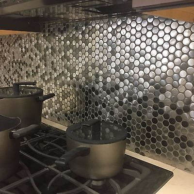 Stainless Backsplash - Penny Round Black Silver Stainless Steel Metal Mosaic Tile For Backsplash Wall