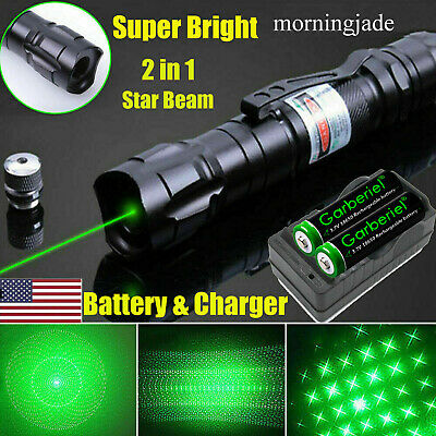 900 Miles 532nm Green Laser Pointer Star Beam Rechargeable Lazerbatterycharger