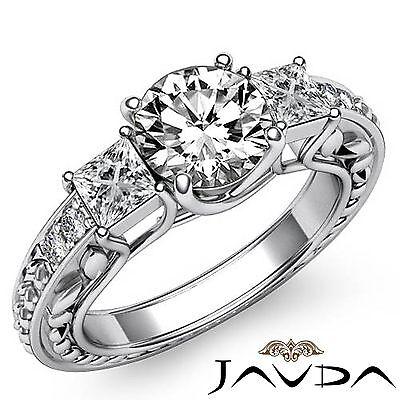 1.4ct Round Diamond Engagement Vintage 3 Stone Ring GIA F VVS2 14k White Gold