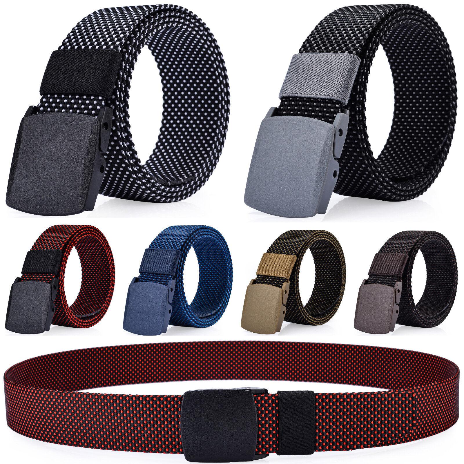 Men's Casual Dress Belt, Nylon Webbed Belt, Plastic Buckle, No Metal Parts Belts