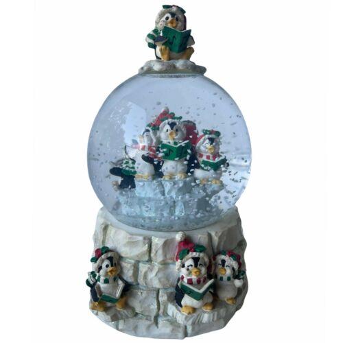 San Francisco Music Box 1996 Snow Globe Igloo Penguins Singing Christmas Carols