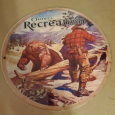 VINTAGE PORCELAIN OUTERS RECREATION HUNTING BEAR MAN CAVE GARAGE OUTDOORS SIGN