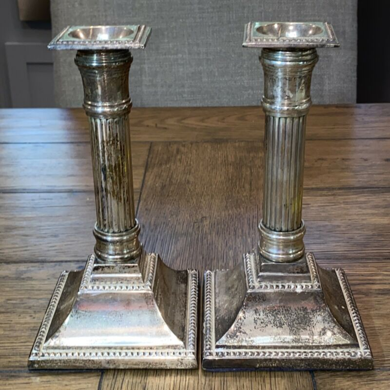 "Antique Silver Plate Corinthian Column Candle Sticks PAIR 8"" Tall Beautiful Pair"