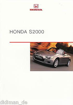 Honda S 2000 Prospekt 1//03 brochure 2003 Auto Broschüre Sportwagen Roadster