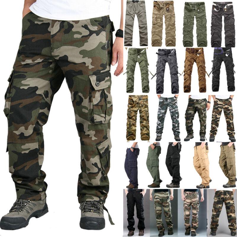 Men's Combat Tactical Cargo Work Army Pants Military Camoufl