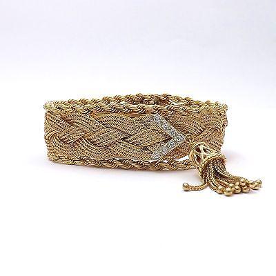 Retro 14k Gold Geneva 17 Jewels Braided Mesh Rope Bracelet Diamond Tassels Watch