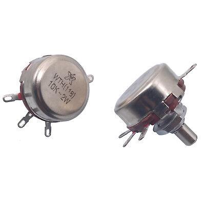 Us Stock 2x 10k Ohm 2w 6mm Round Shaft Rotary Taper Carbon Potentiometer Wth118