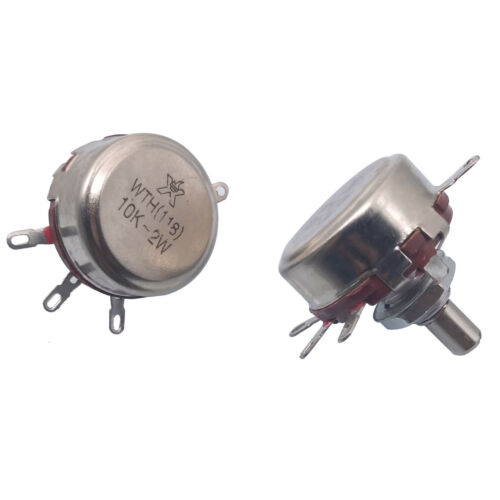 US Stock 2x 10K ohm 2W 6mm Round Shaft Rotary Taper Carbon Potentiometer WTH118