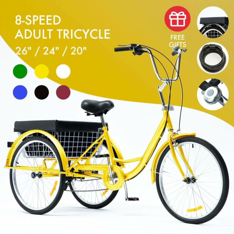 26 24 8 speed adult tricycle trike