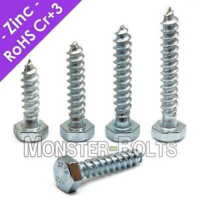 14 Hex Lag Screws Lag Bolts Zinc Plated Steel Cr3 Rohs