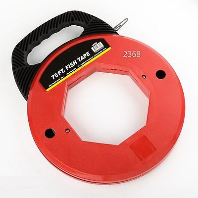75 Ft Steel Cable Fish Tape Electric Wire Cable Line Puller In High Plastic Case