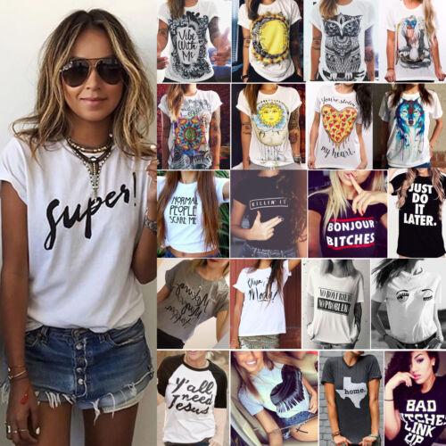US Summer Womens Casual Short Sleeve Loose T-shirts Blouse P
