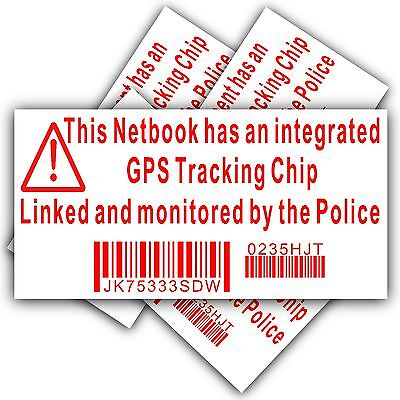 4 x Netbook Computer Security Sticker-GPS Police Tracking Sign-Dell,HP,Mac,Lock