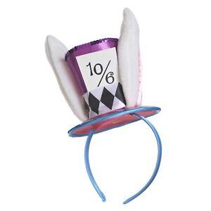 Mad Hatter Alice in Wonderland Mini Hat on Headband Womens Fancy Dress Accessory