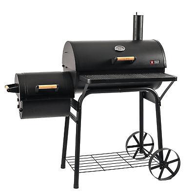 BBQ Grill Holzgrill Kohlegrill Smoker Grillwagen Barbecue mit Side-Feuerbox  - Grill Smoker Box