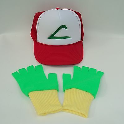 Pokemon Ash Trainer Costume Hat and Gloves Set Green/Yellow Choose Sze US Seller](Green And Yellow Gloves)