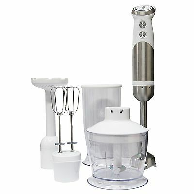 Igenix IG8654 800W 4 in 1 Hand Blender Set - White / Brushed Stainless Steel