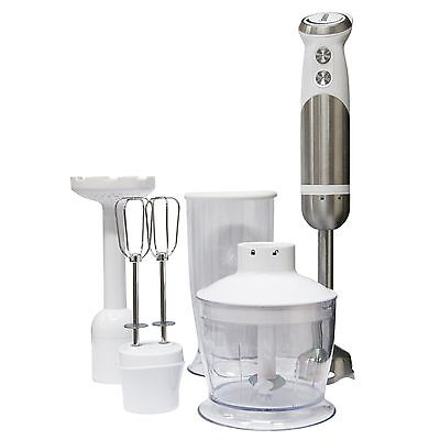NEW Igenix IG8654 800W 4 in 1 Hand Blender Set - White / Brushed Stainless Steel