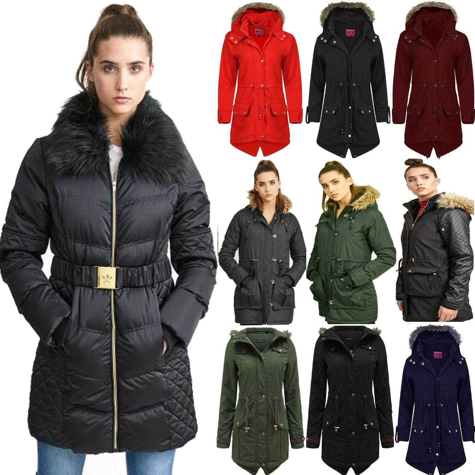 NEW WOMENS LADIES QUILTED WINTER PUFFER HOODED REFLECTIVE JACKET PARKA SIZE 8-16