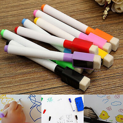 8 Colour Set Magnetic Dry Wipe White Board Window Markers Pens Built In Eraser