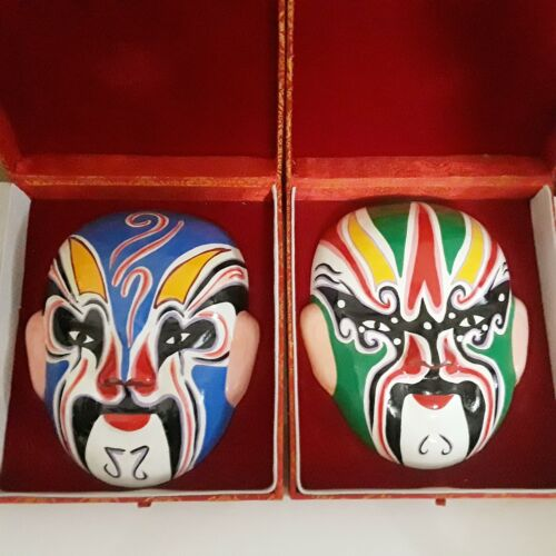 """2 Chinese  Clay Painted Opera Masks in Decorative Box (Approx. 7.25""""L 6""""W 2""""H)"""
