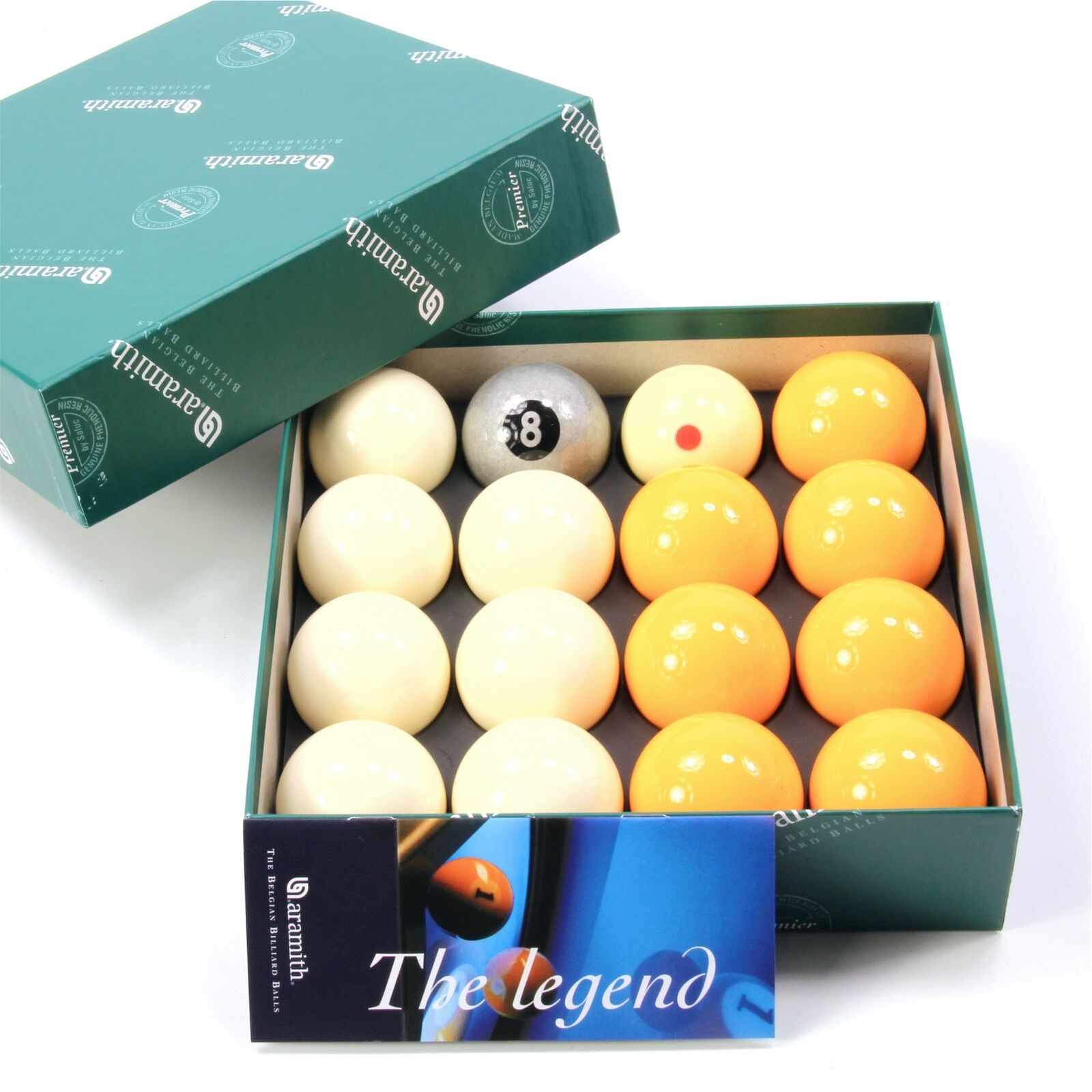 Exclusive! Aramith Silver 8 Edition Yellow & White Pool Balls - Pro Cup Cue Ball