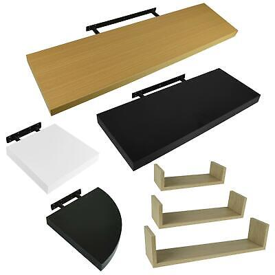 Set of 3 U Shape Floating Wall Shelves Storage Display Shelf White Black Oak UK