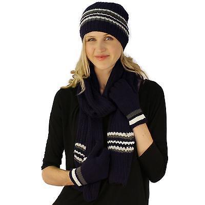 Winter Girls Ladies Knit Stripe Scarf Beanie Hat Cap Gloves Ski 2pc Set Navy