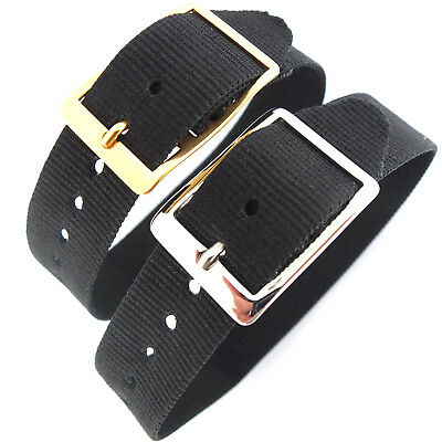 DARLENA 16mm BLACK WASHABLE NYLON ONE PIECE WATCH STRAP EASY FIT GOLD or SILVER ()