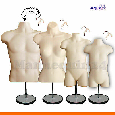 4 Mannequins Flesh Male Female Child Toddler Body Forms 4 Stand 4 Hangers