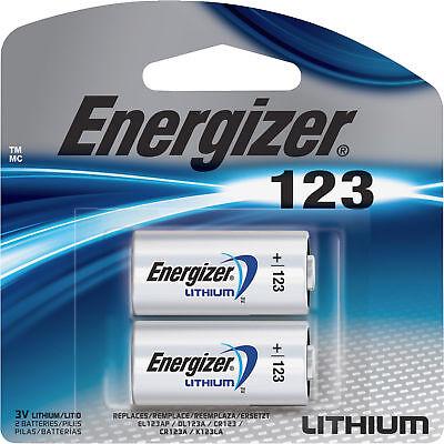 2 Pack Energizer Lithium 123 Cr123a 3V Camera Battery Fresh Exp  12 2028