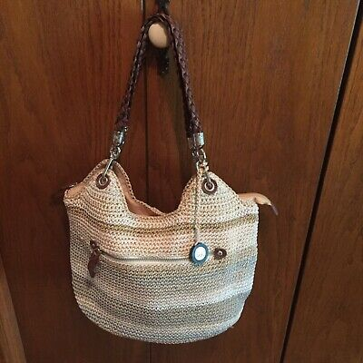 the saK Purse w/ Leather Braided Handles Zipper Pull and Neutral Stripes NICE!
