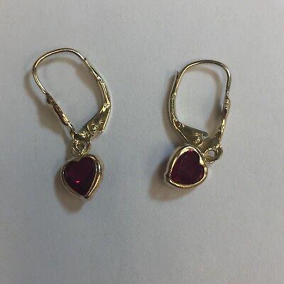 Ruby heart earrings set in 14K Yellow Gold leverback settings Ruby Leverback Gem Earrings