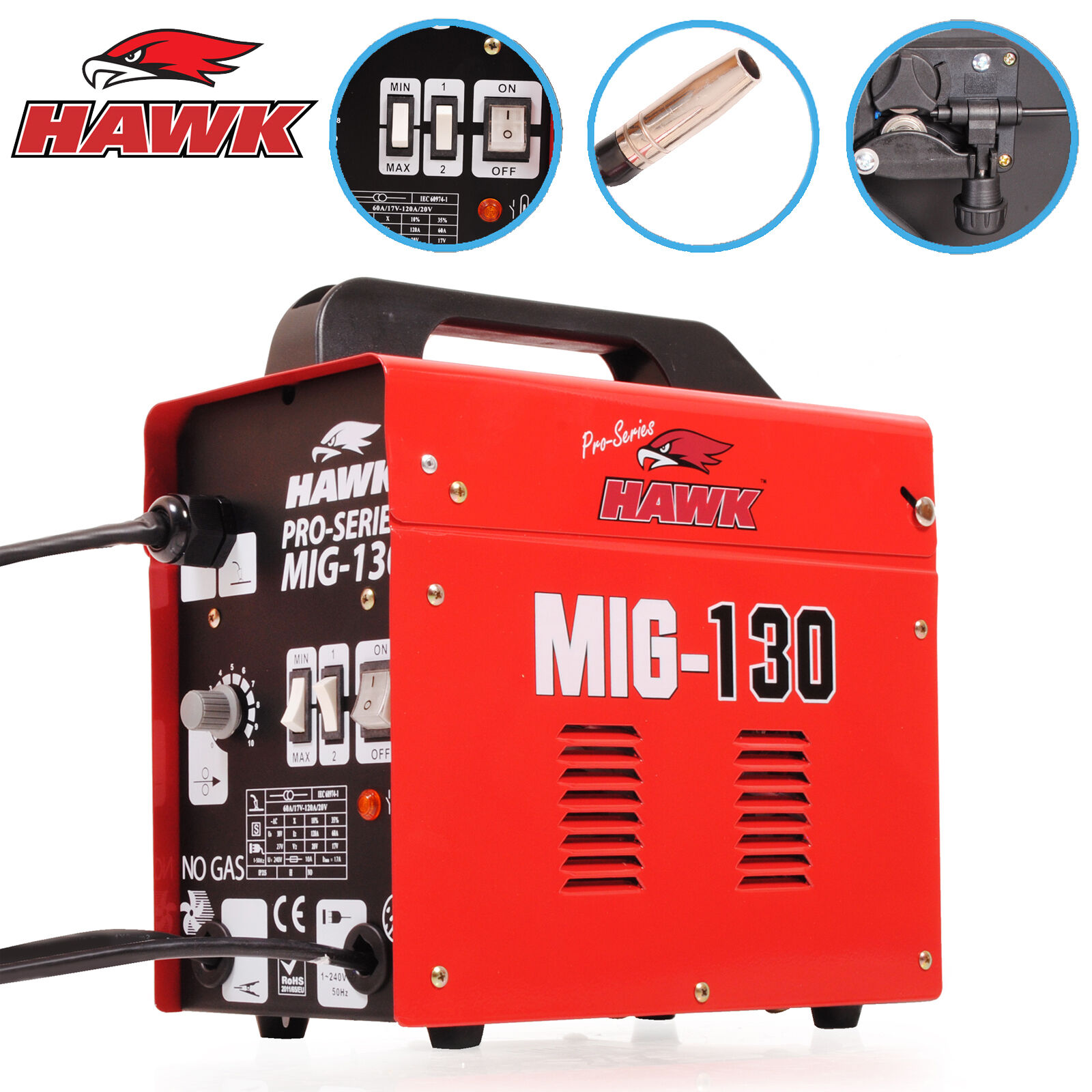 Hawk 150 gas no gasless flux solid wire feed mig weld for Mig welder wire feed motor not working