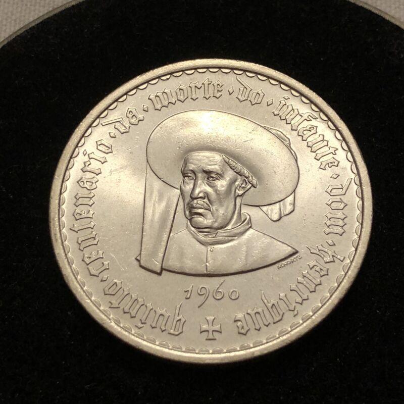 Portugal 1960 20 Escudo Silver Coin BRILLIANT UNCIRCULATED