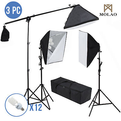 3 Softbox 2400W Photo Studio Photography Light Stand Continuous Lighting Kit