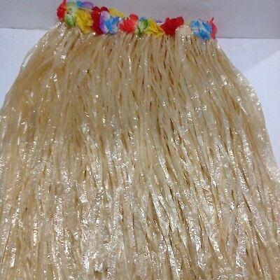 Ladies Hawaiian Hula Girl Grass Skirt Fancy Dress Costume 32
