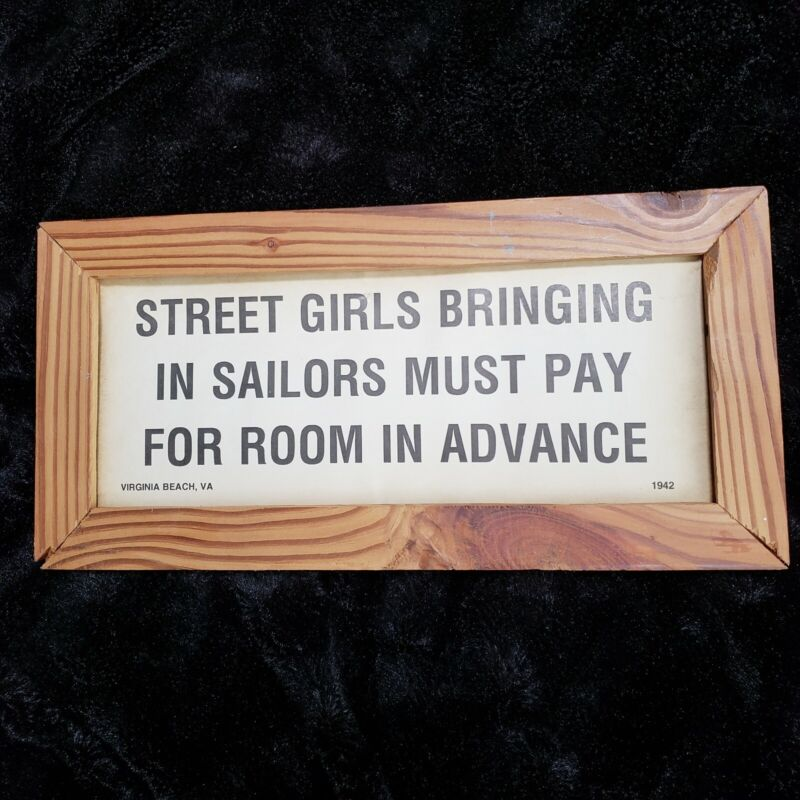 Vintage Street Girls Bringing in Sailors Framed Paper Sign Virginia Beach 1942