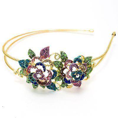 NEW Multi-color Rose Flower Austrian Crystal High Quality Metal Roses Headband