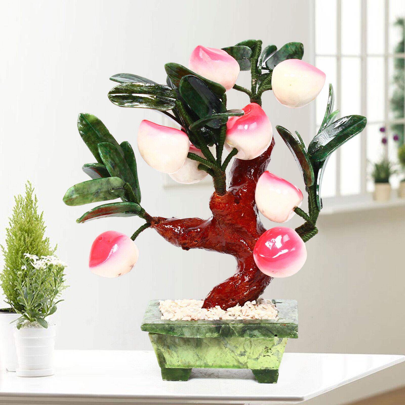 Jade Peach Bonsai Hardstone Gemstone Stone Tree Fruit Plant Decor Feng Shui Ebay