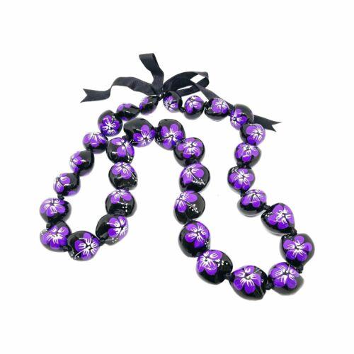Kukui Nut Lei Hibiscus Purple Flower Necklace Hawaiian Wedding Luau Graduation