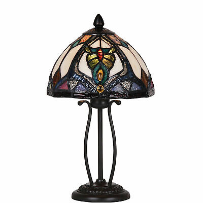 TIFFANY STYLE LAMP UNIQUE STAINED GLASS DESK TABLE HANDMADE BEDROOM READING